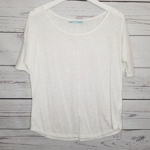 Maurices   White Floral Design Front Dolman Sleeve